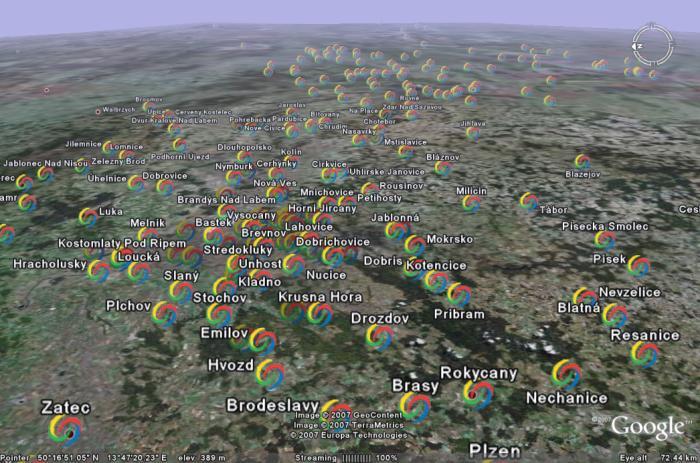 Data z Google Analytics v Google Earth
