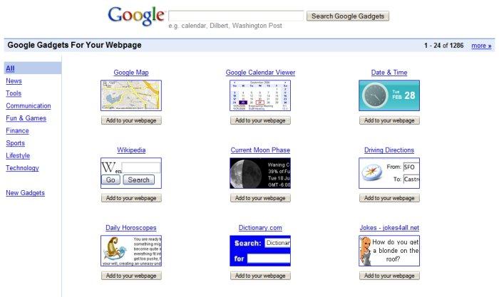 Google gadgety pro web