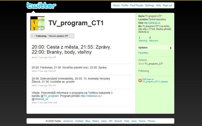 TV program na Twitteru