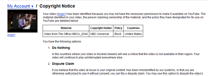 Copyright info (YouTube)